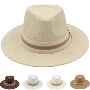 Men Women Panama Fedora Hats Trilby Caps Wide Brim Sombrero Sunhat Sunbonnet
