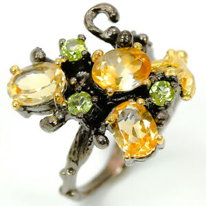 Fashion-for-women-Natural-Citrine-Gemstone-925-Sterling-Silver-Gift-Ring-RVS291