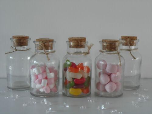 Petit verre clair liège couvercle bouteilles bocaux fête bonbons table de mariage faveurs 6x10