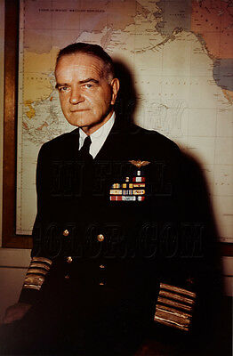 80-G-K-15137 Admiral William Bill Bull Halsey World War 2 WWII color photo