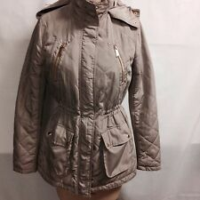 BCBGeneration Hooded Quilted Lightweight Anorak M Tan  New With Defects
