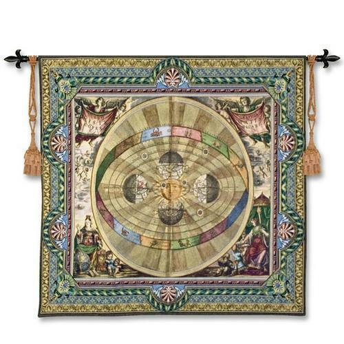 57x52 COPERNICAN SYSTEM Map Tapestry Wall Hanging
