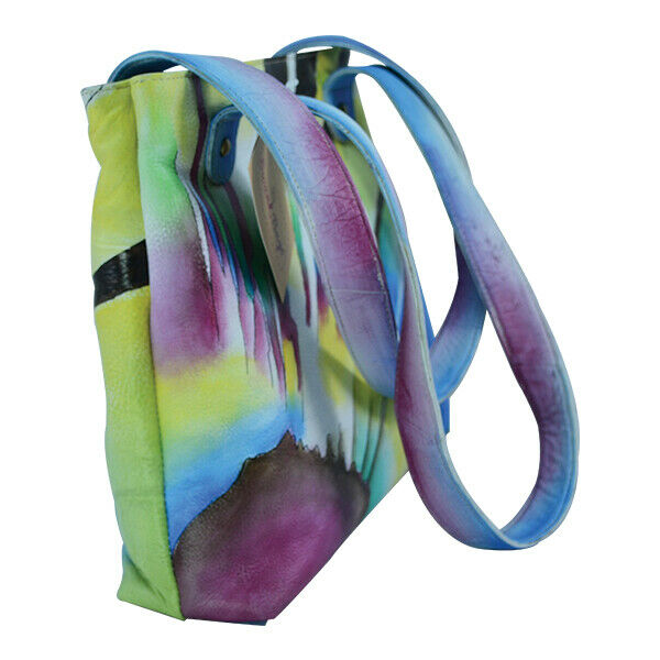 Swank Bags Hand-Made and Painted Abstract Sun Leather Tote Bag SB069-2