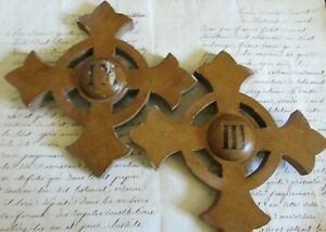 Antique-French-Pair-Wooden-Church-Altar-Crosses-Crucifixes-Numbers-IX-amp-III