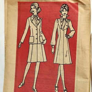 Vintage 1960s MARIAN MARTIN Sewing Pattern Dress w Jacket Size 16 Printed Uncut