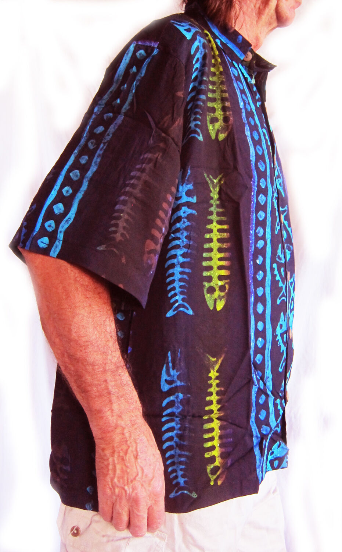 DOUBLE DUCK new LOUD HAWAIIAN HAND-PAINTED SHIRT BLACK with stripes// fishbones
