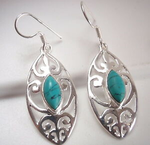 Turquoise-Filigree-Marquise-925-Sterling-Silver-Dangle-Earrings-Corona-Sun