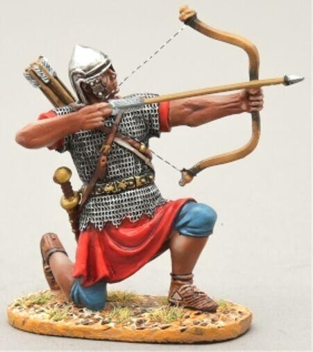 Thomas Gunn Roman Empire ROM023A Bogenschütze Kniend Brennen Gerade Silbern Helm