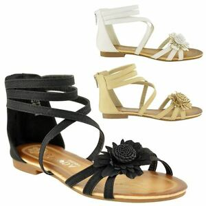 f3be0bd7bc3303 KIDS GIRLS CHILDRENS SUMMER SANDALS WEDDING PARTY FLAT EVENING SHOES ...