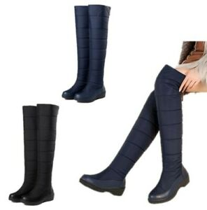 Womens-Quilted-Over-the-Knee-Boot-Fully-Fur-Lined-Winter-Knee-high-Ski-Snow-Boot