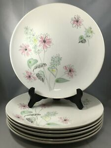 6-Royal-china-STARDUST-Flower-Bouquet-Mid-Century-10-034-Dinner-Plates-Floral