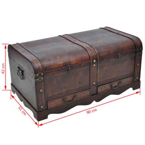Large Wooden Vintage Treasure Chest Trunk Jewellery Storage Box Case Organiser ~