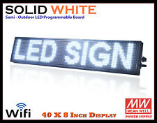 40x8 Inch White Wifi Semi Outdoor Indoor Led Scrolling Sign Super Fast Ship