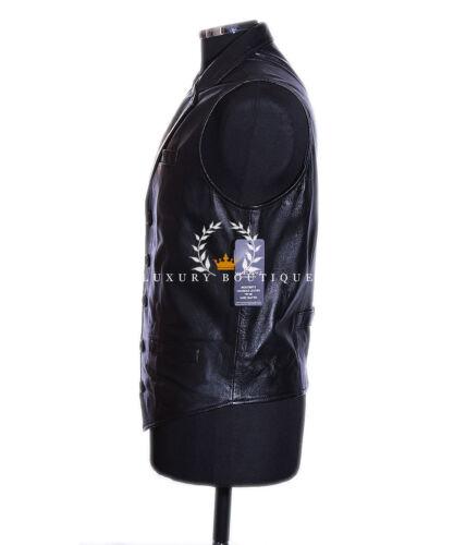 Charles Black Uomo Smart Formali Morbido Pelle di Agnello Reale Gilet in Pelle Con Colletto