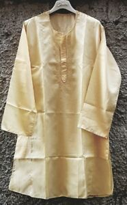Tunica in cotone color giallo-pesca - ricamo, tasche e bottoni - MyBatua - Kurta