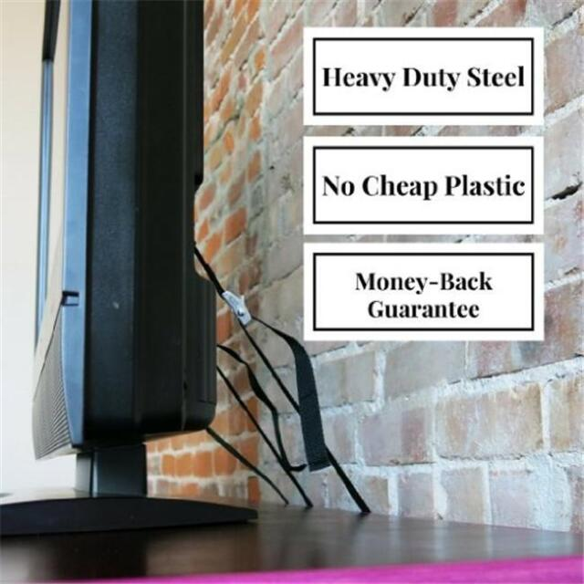 Anti Tip Tv Furniture Safety Wall Strap Anchor Heavy Duty Nylon Metal Mounting Z