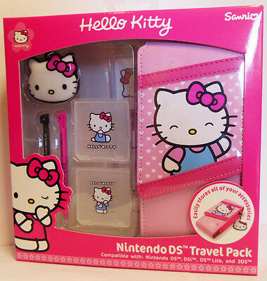 Official Hello Kitty 3DS DSi DS Lite 7 in 1 Accessory Kit Travel Pack Bag Case