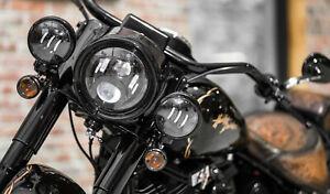 LED-Zusatzscheinwerfer-schwarz-Harley-Davidson-Heritage-Deluxe-Fat-Boy-4-5-Zoll