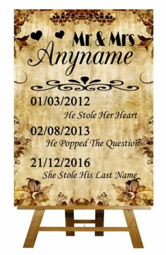 Autumn Vintage Important Dates Personalised Wedding Sign Poster