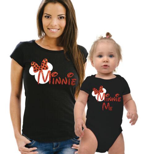 Mère Minnie et Minnie Me T-shirt noir et bébé grandir ensemble avec rouge paillettes.