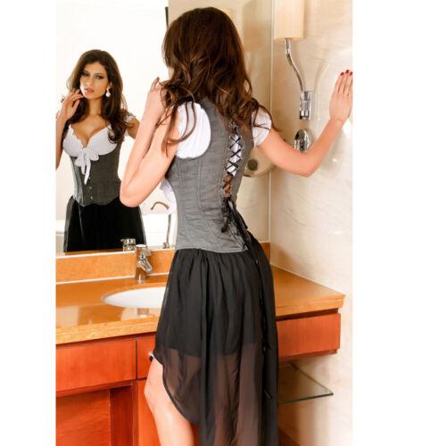 Women Cowboy Lace Up Waist Training Hook /& Eye Gothic Underbust Corset Vest