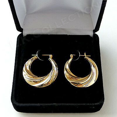 14K Yellow Gold Hoop Earrings Puffed Scallop Classic Vintage Unique 2.8 g Rare