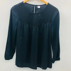 Old-Navy-Womens-Size-XS-Relaxed-Lace-Yoke-Top-Blouse-3-4-Sleeve-Black-Jack-768