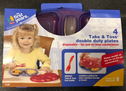 The First Years Take and Toss Double Duty Plates ~ 4 Pack ~ NEW /& FREE US SHIP