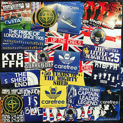100 x Chelsea Stickers inspired by Stamford Bridge Scarf Badge Flag Terry  Shed | eBay