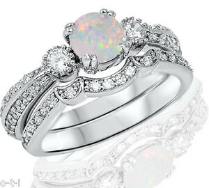Round Simulated White Fire Opal Genuine Sterling Silver Engagement Ring Set Ebay