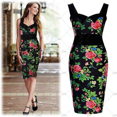 Women's Boho Floral Sleeveless Casual Cocktail Party Slim Sundress Summer Dress