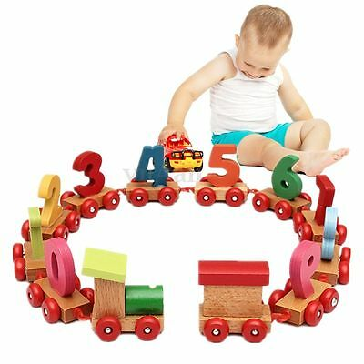 Baby Children Wooden Digital Small Train 9 Number Educational Toy Toddlers Kid