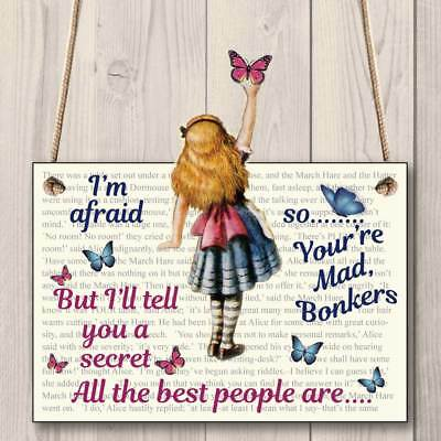 Alice in Wonderland Land Personalised Name Door Plaque Sign Girls Gift Mad House