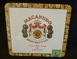 Collectible-empty-tin-cigar-box-Macanudo-10-Ascots-1986-label-Dominican-Rep-5x5