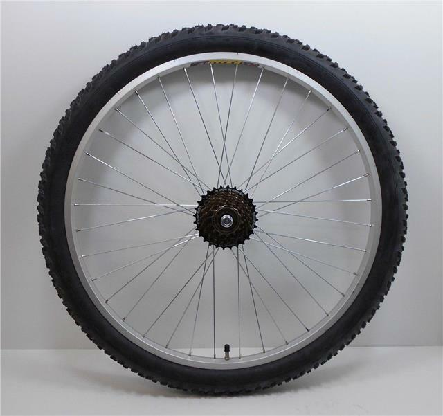26   Alloy REAR Mountain Bike Wheel + 7 SPEED SHIMANO FREEWHEEL + TYRE & TUBE