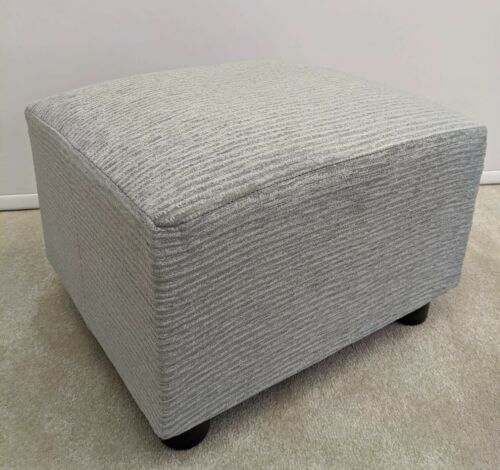 Footstool Small Stool //Bruer pale Blue ribbed British Made Pouffe