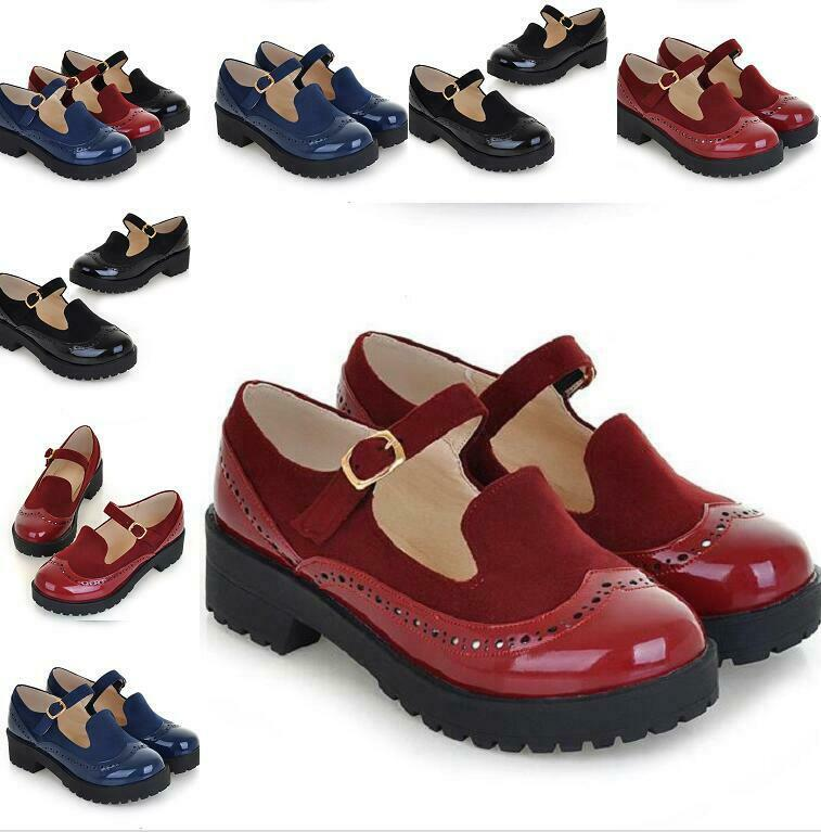 Mary Jane women's shoes patent leather sweet casuals ankle strappy plus szie