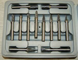 SET OF 12 ENGINEERS SOLID CARBIDE ROTARY BURRS FROM CHRONOS
