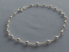 "10""-STERLING SILVER ANKLE BRACELET- CONTINUOUS 3mm BEADS ON OPEN LINK- ITALY 925"
