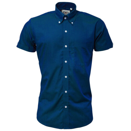 Relco Men/'s Blue//Green Two Tone Tonic Short Sleeve Button Down Skins Shirt