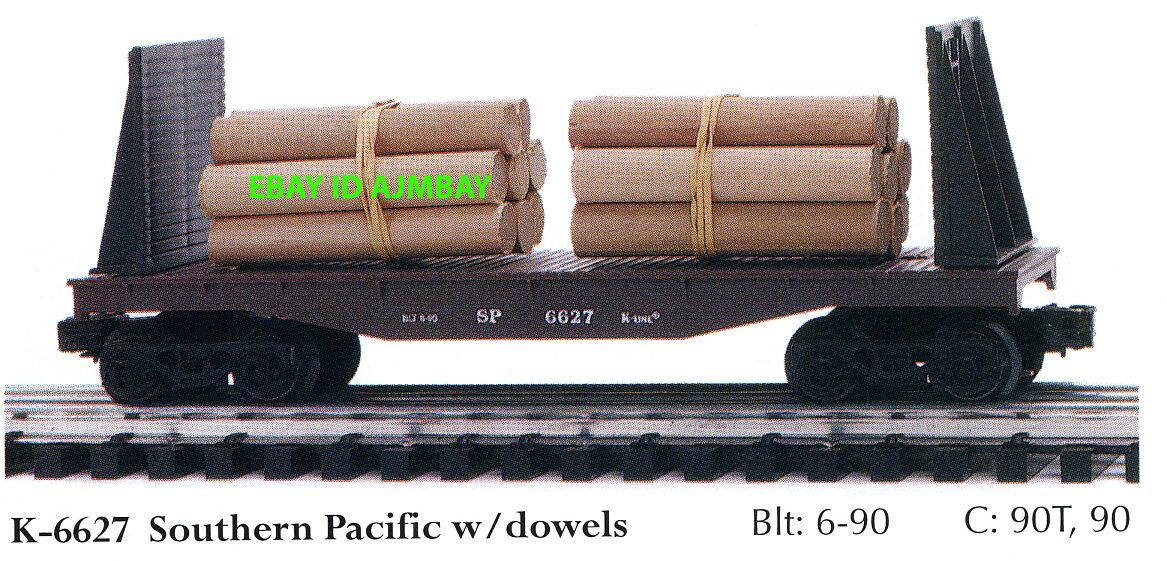 K-LINE 6512, 6522, 6493, 6552, 6627. 6673 BOX, GONDOLA & FLATCARS CRATES & LOADS