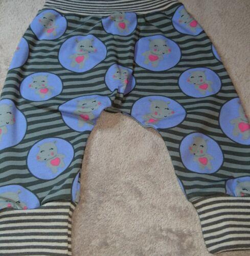Hose Babyhose Pumphose Mitwachshose 56 62 68 grau lila Streifen Hippo Jersey