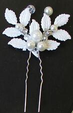 White Silver Leaf & Pearl Hair Pin Bridal Wedding Vine Headpiece Ivory Vtg 1134
