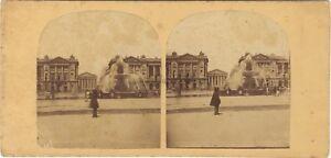 Parigi Place Da La Concorde Foto Stereo Vintage Albumina Ca 1860