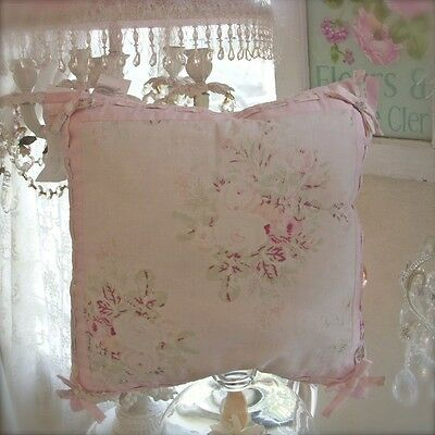 Rachel Ashwell Shabby Pink Roses Bow Chic Cushion for Couch Bed or Wicker Chair