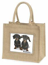 Dachshund Dogs 'Soulmates' Sentiment Large Natural Jute Shopping Bag, SOUL-30BLN