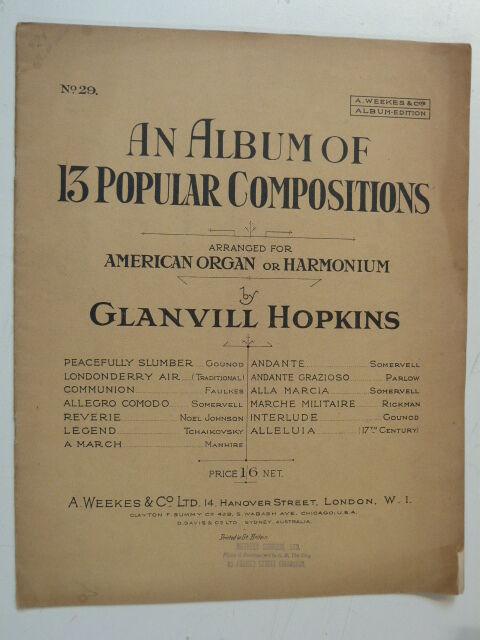 2stave american organ harmonium GLANVILL HOPKINS 13 popular compositions