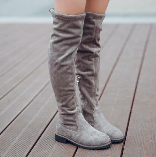 Kids Girls Suede Leather Over Knee High Boots Slim Stretch Casual Shoes Korean