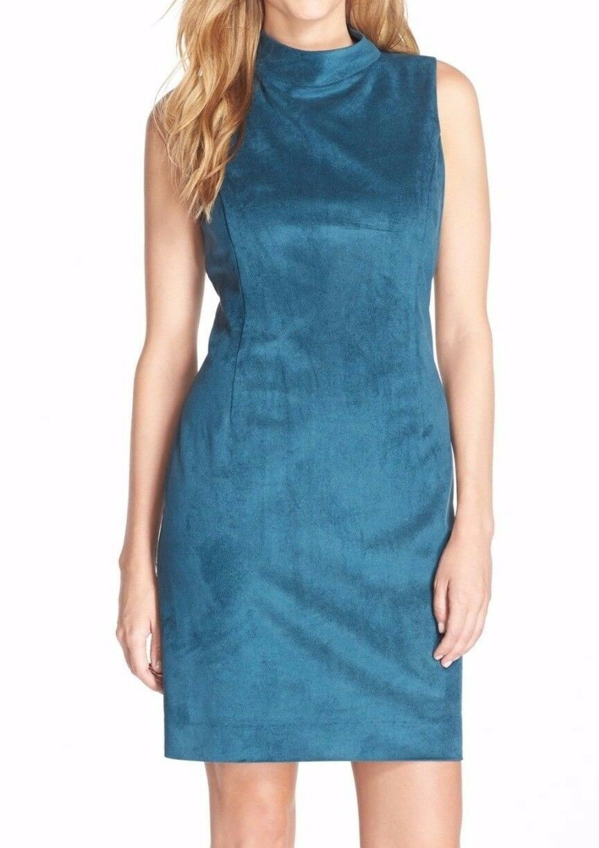 Tahari 5220M181 Teal Sleeveless Mock Neck Stretch Ultrasuede Sheath Dress -