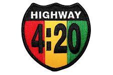 Highway 420 Rastafari Cannabis Marijuana Pot Embroidered Iron On Applique Patch